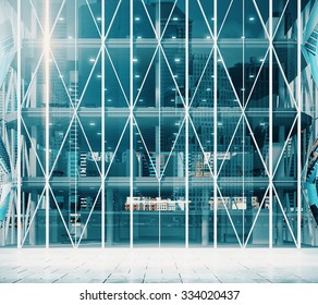 Entrance to the modern vitreous business center 3D Render
