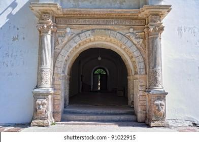 Entrance to monastery on Jazlowiec (Yazlovets) Castle ruins, Ukraine