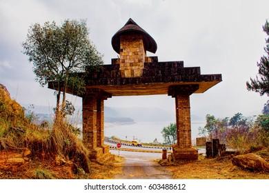 Entrance to The Mount Of Heaven's Navel- Lum Sohpet Bneng, Shillong, East Khasi Hills District, Meghalaya India.