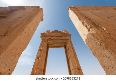 Entrance of the now destroyed ancient temple of Bel in Palmyra, Syrian desert