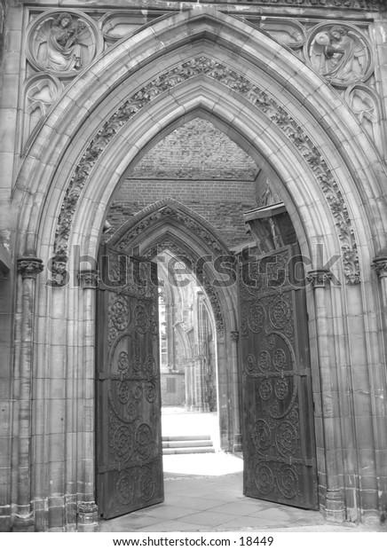 Entrance of an old church.