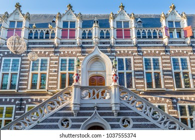 Entrance of the old CIty Hall  in the historic city centre of Alkmaar in  North-Holland in the Netherlands. Also known as the city of cheese.