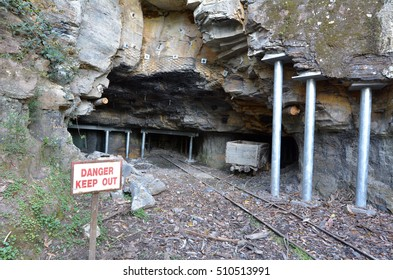 Entrance to a old coal and kerosene shale mines in Katoomba Jamison Valley at Blue Mountains New South Wales, Australia.
