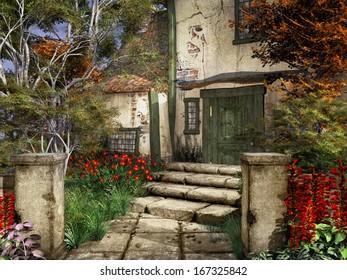 Entrance to an old farmhouse