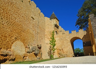 Entrance to the old, fortified Chateau Montfort on the Dordogne River in France