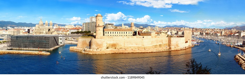 The entrance to the old port and Fort Saint Jean in Marseille in Provence, France.