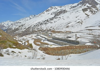 The entrance on the Swiss side of the trans-alpine St Bernard Pass tunnel crossing from Switzerland to Italy
