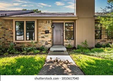 Entrance of a one story house in Dallas Texas, USA