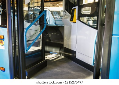entrance open doors to a modern and comfortable city bus or electric bus