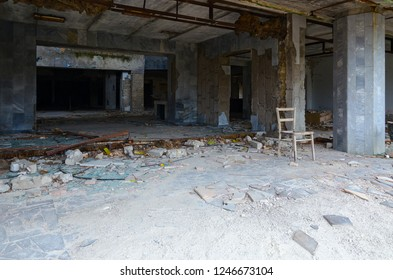 """Entrance to Palace of Culture """"Energetic"""", dead abandoned ghost town of Pripyat, Chernobyl NPP exclusion zone, Ukraine"""