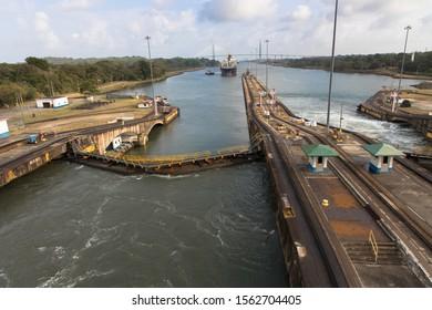 The entrance to the Panama Canal, Gatun Locks from the Caribbean Sea. Panama
