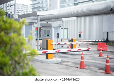 entrance to parking lot, Barrier on the car parking