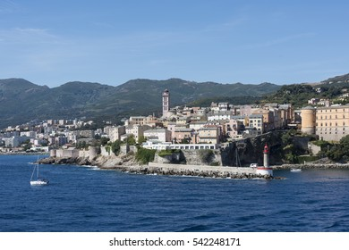 Entrance in port of Bastia, Corsica, France