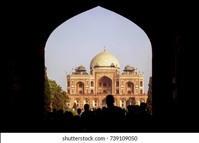 Entrance portal into Humayun's Tomb, Delhi, India, 2016. A Landscape view of Humayun's tomb entrance which is a World Heritage architecture, situated in Delhi, India.