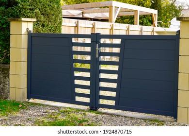 entrance portal modern steel grey gate aluminum home door access with blades suburbs house street