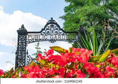 The entrance of Public Gardens with red flowers in Halifax, Nova Scotia, Canada.