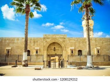 Entrance of Qaitbay Citadel and Mosque in Rasheed City, North Egypt.