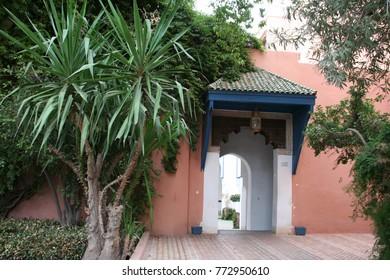 Entrance to the raid courtyard in old town near Marrakesh bazaar Jamaa el Fna