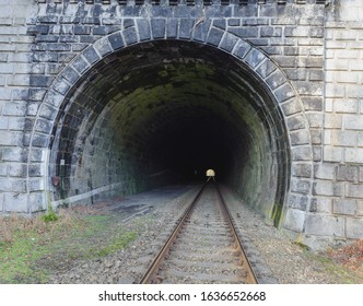 Entrance of railway tunnel in mountain area of Czech republic