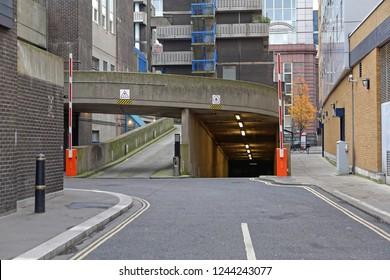 Entrance Ramp to Underground Parking Garage in City