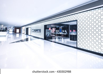 entrance of retail store in bright hall
