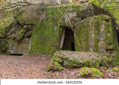 The entrance to the ruined bunker of Wolf's Lair in Poland