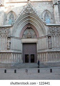 The entrance of the Santa Maria del Mar, Barcelona, Spain