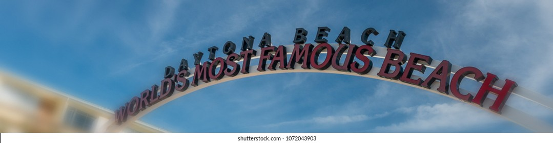 Entrance sign of beach road, Daytona Beach, Florida.