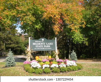 The entrance sign to Belmont Lake State Park in West Babylon, Long Island, NY.