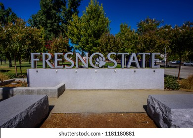 The entrance sign to the campus of Fresno State University in Fresno, California on September 14, 2018. (0091)