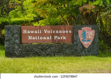 Entrance Sign in Hawaii Volcanoes National Park in Hawaii, United States
