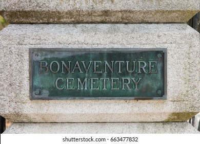Entrance sign at historic Bonaventure Cemetery, a public cemetery in Savannah, Georgia.