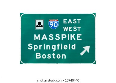 Entrance sign on interstate I-90 (Massachusetts turnpike)