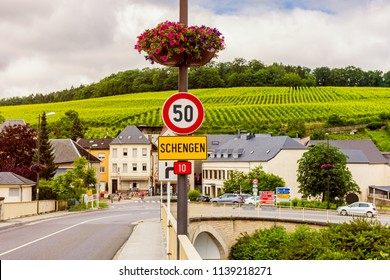 Entrance Sign To Schengen, Luxembourg. Schengen Is Best Known For The  Schengen Agreement,