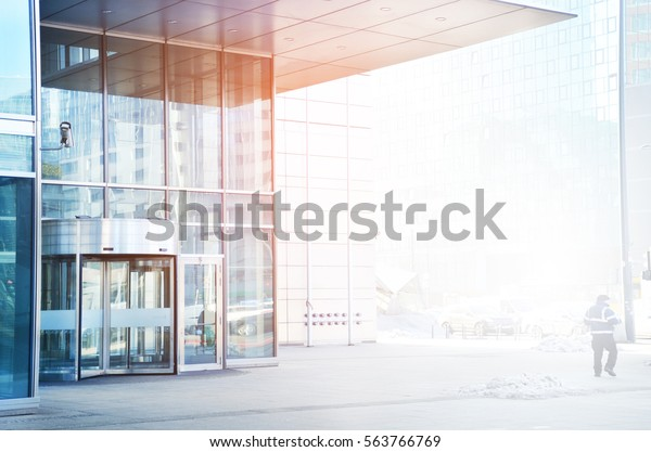 Entrance to skyscraper background
