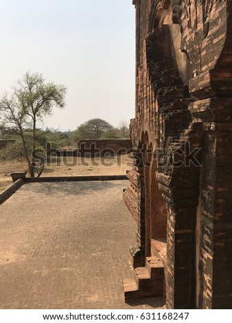 Entrance Small Brick Temple Bagan Myanmar Stock Photo (Edit