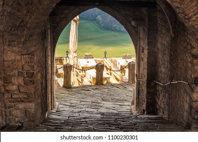 Entrance to the square in the historic town of Motovun on the peninsula of Istria, Croatia, Europe.