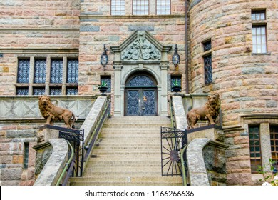 The entrance with stairs and lions of the Teleborg Castle in Vaxjo in Smaland, Sweden.
