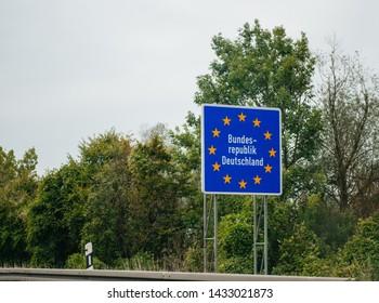 Entrance street highway sign to Germany, Member of European Union with text Bundesrepublik Deutschland