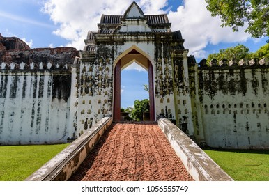 The entrance to the throne hall building of King Narai's palace at Lopburi Province, Thailand, which was built in 1666 .