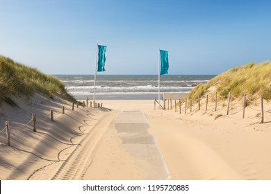 Entrance through the dunes to the North Sea beach of Noordwijk aan Zee, The Netherlands
