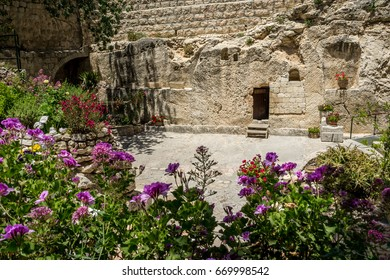 Entrance to the tomb. The Garden Tomb outside the walls of the Old City of Jerusalem, Israel