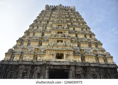 Entrance tower ( Gopuram) of Ekambareswarar Temple, Kanchipuram, Tamil Nadu, India