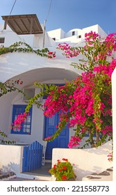 An entrance to a traditional greek house in Santorini