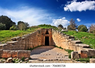 "The entrance of the  ""Treasury of Atreus"" (also known as the ""Tholos tomb of Atreus"" or ""Tholos tomb of Agamemnon""), ancient Mycenae, Argolida, Peloponnese, Greece. Date taken:14.2.2014"