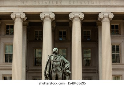 Entrance of The Treasury Department Building in Washington, DC with Statue of Albert Gallatin, former Secretary of the Treasury
