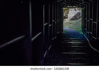 Entrance tunnel with metal support structure of the Ohkubo Mineshaft, part of Iwami Ginzan (Silver Mine), a World Heritage Site dating back 400 years in Japan