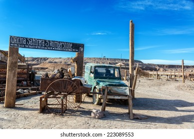 Entrance to the UNESCO World Heritage ghost town of Humberstone, Chile