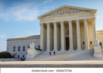 Entrance to the United States Supreme Court Building in Washington DC
