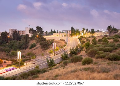 The entrance to the US Embassy in Jerusalem at dawn.
